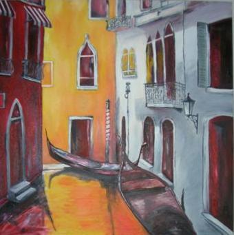 """""""le fantôme de Venice"""" huile sur toile, 36x36, 1999"""