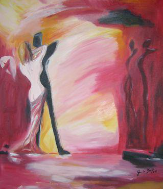 """""""naked dance"""" huile sur toile, 26x24, 2000"""