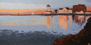 """""""walk to work"""" huile sur toile 24x48, 2012"""