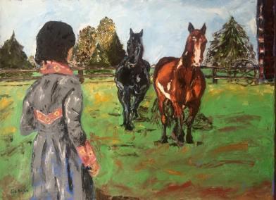 """wisdom of the horses"" huile sur toile 24x30 2014"