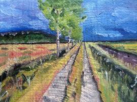 """""""Silence du sentier"""" huile sur bois 9,5 x 13.5, 2014"""