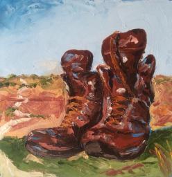 """""""les bottes parlent"""" huile sur toile 8x8, 2014"""