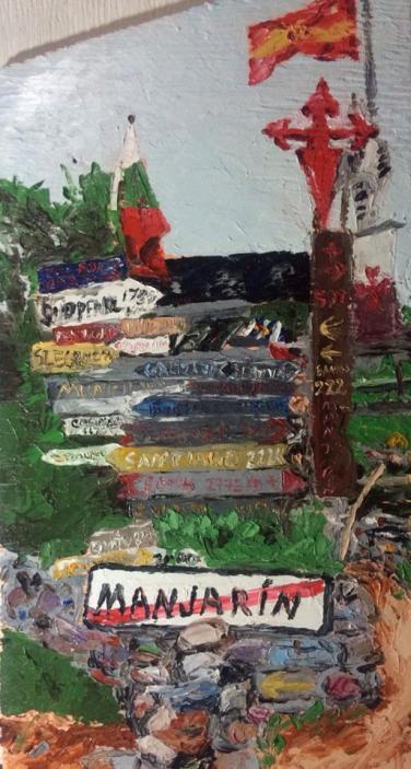 """""""hippy stop"""" huile sur bois 24x16, 2014"""