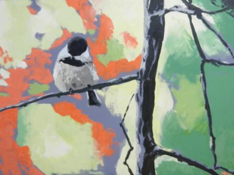 """""""chickadee"""" huile sur toile 30x40, 2012"""