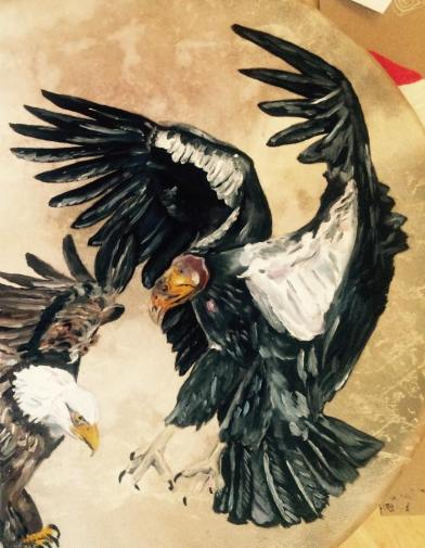 """eagle meets the condor"" oil on drum 2015"