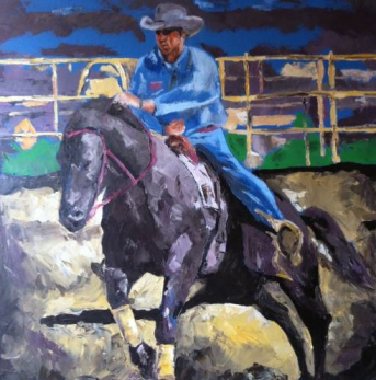 """""""riding with pride"""" huile sur toile 30x34, 2012"""