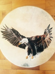 """freedom"", oil on drum, 18x18, 2014"