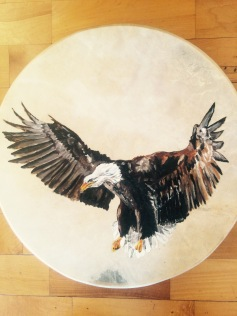 """freedom"", oil on drum, 18x18, 2014"