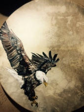 """""""eagle meets the condor"""" oil on drum 2015"""