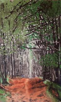 """""""Ralentir"""" huile sur bois 30x18, 2014"""
