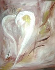 """""""coeur illuminé"""" huile sur toile, 26x24, 2000"""
