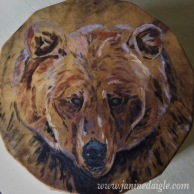 "Bear Medicine, Acrylic on buffalo hyde drum, 18"", 2015- $300"