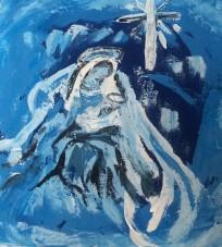 """Esprit de Noel"" Acrylic sur toile 20x20, 2014"