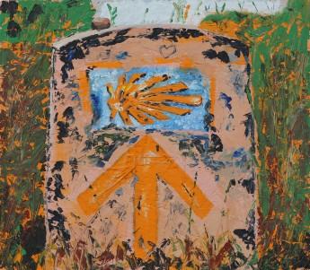 Camino de Santiago, huile sur bois, 18x18, 2014
