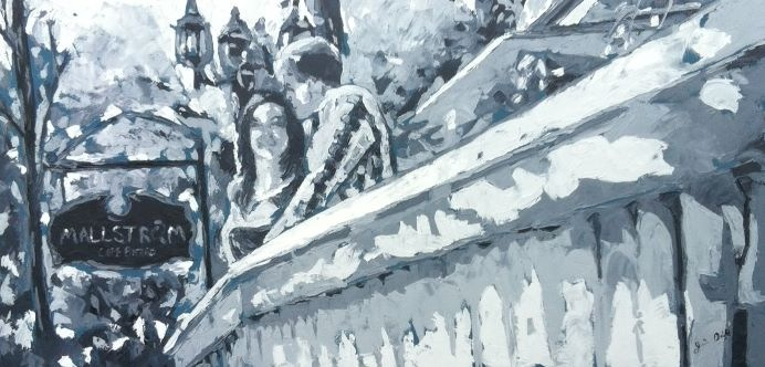 """""""engagement"""" huile sur toile 26x48, 2012"""