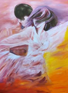 """""""la danse"""" huile sur toile, 50x40, 1999"""