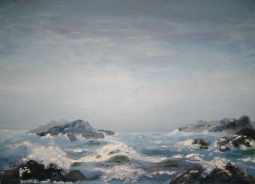 """""""la mer enragée"""" huile sur toile, 24x26, 1999"""