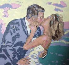 """the promissed kiss"" huile sur toile, 32x26, 2010"