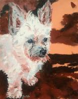 """""""Pixie"""" huile sur toile 16x16, 2014"""