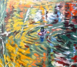 """""""Robert le Col Vert"""" huile sur toile 16x20, 2013"""