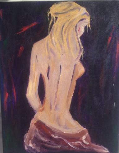 """""""self portrait beauty"""" huile sur toile, 26x24, 2000"""