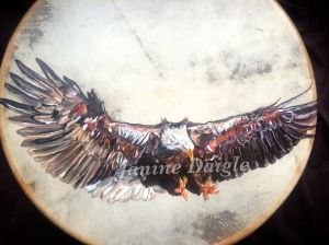 """""""grasp your power"""" oil on drum 2015"""