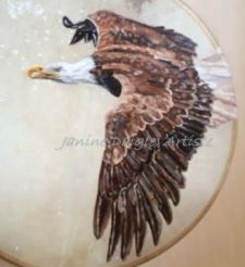 """""""Eagle Spirit"""", oil on drum, 2015, SOLD"""