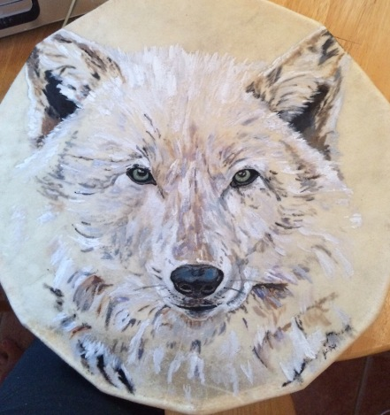 White Wolf Spirit, Oil on Drum, $350