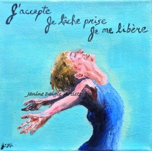 """""""Lâche prise"""", Acrylic et huile sur toile, 8x8, 2015"""