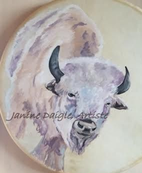 """""""White Buffalo"""", oil on drum, SOLD"""
