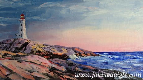 """""""Peggy's Cove"""", Oil on canvas, 8x16, 2015- SOLD"""
