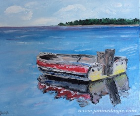 """""""Old boat"""", Oil on Canvas, 10x12, 2015- $110"""