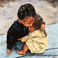"""Brother's Comfort', Oil on canvas, 16x16, 2015- private collection"