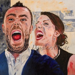 """""""Bitting in the New Year"""", Oil on Canvas, 18x18, 2015- $290"""